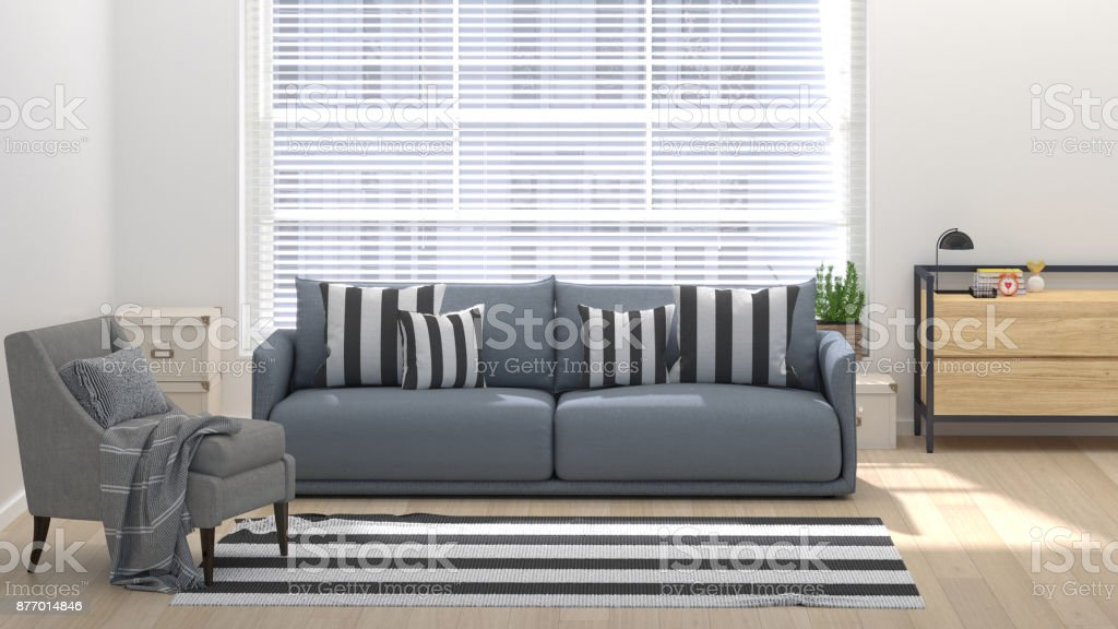 Modern living room with home office 3D illustration home interior with sofa, armchair,sideboard chest of drawer and rug stock photo