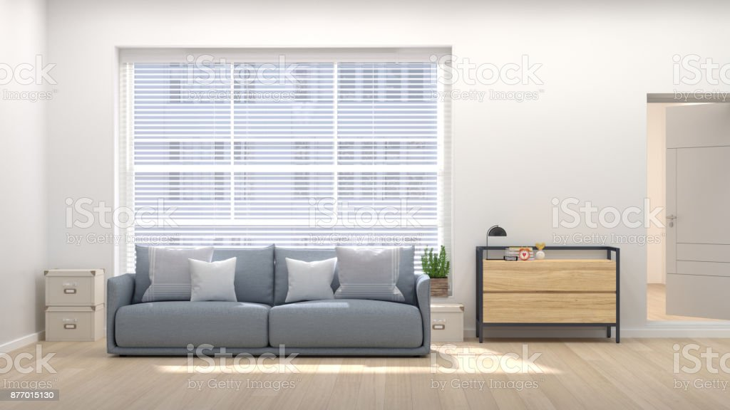 Modern living room with home office 3D illustration home interior with sofa, sideboard chest of drawer stock photo