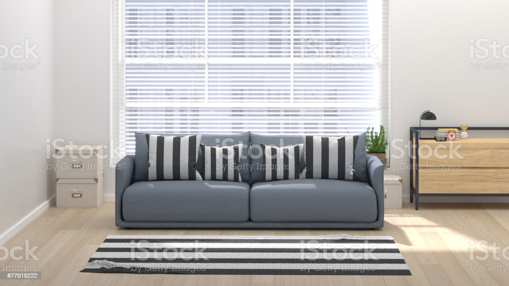 Modern living room with home office 3D illustration home interior with sofa, sideboard chest of drawer and rug stock photo
