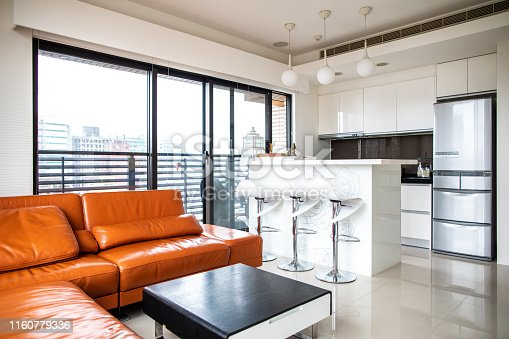 istock Modern Living room with kitchen counter 1160779336