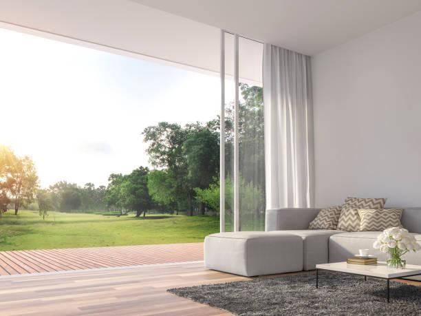 Modernes Wohnzimmer mit großer geöffneter Tür zur Natur 3d render – Foto