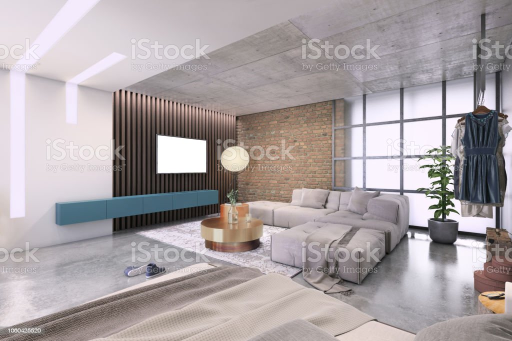 Modern Living Room With Large Tv On The Wall Stock Photo ...