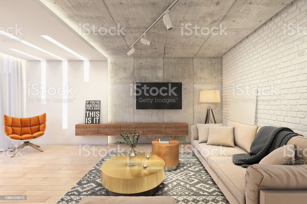 Modern Living Room With Large Tv On The Wall Stock Photo Download Image Now Istock