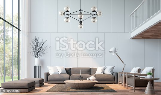 istock Modern living room with mezzanine 3d rendering image 821279040