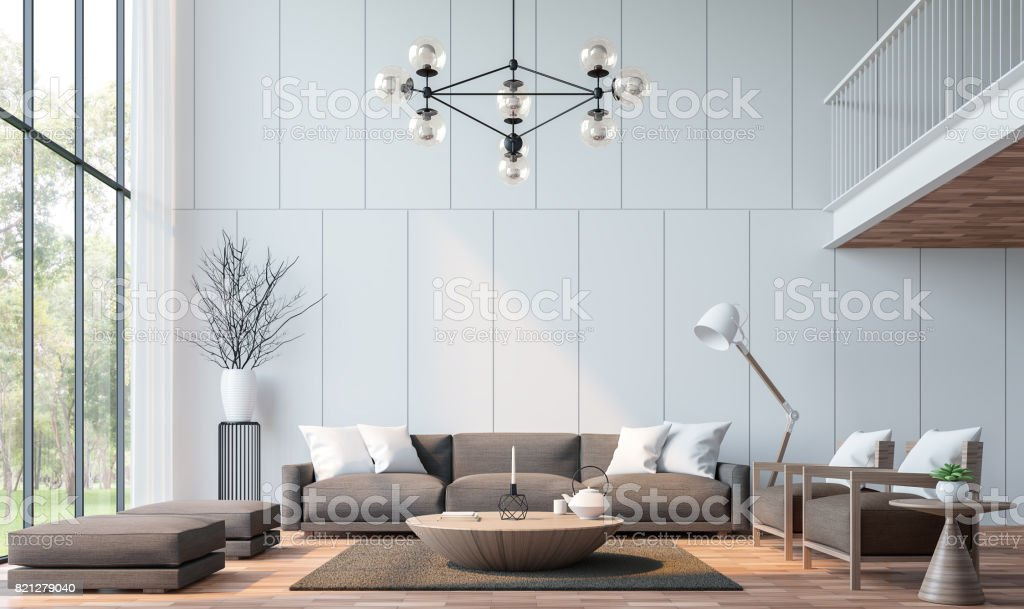 Modern living room with mezzanine 3d rendering image stock photo