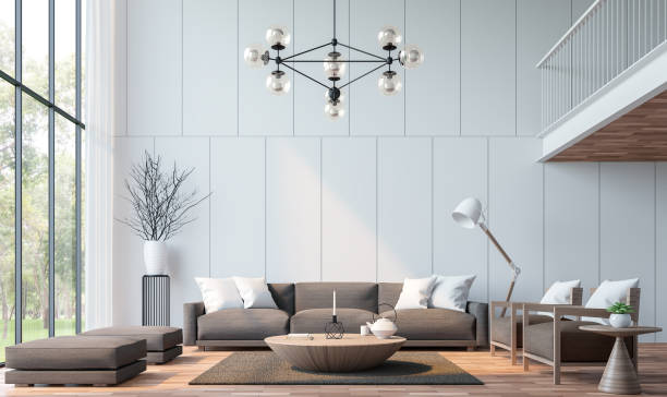 modernes wohnzimmer mit mezzanine 3d-bild rendern - große wohnzimmer stock-fotos und bilder