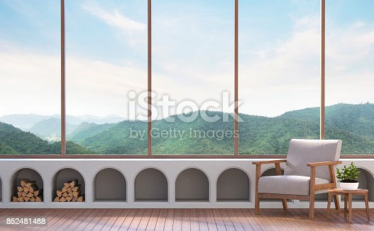 istock Modern living room with mountain view 3d rendering image 852481488