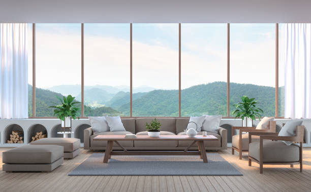modernes wohnzimmer mit blick auf die berge 3d-bild rendern - große wohnzimmer stock-fotos und bilder