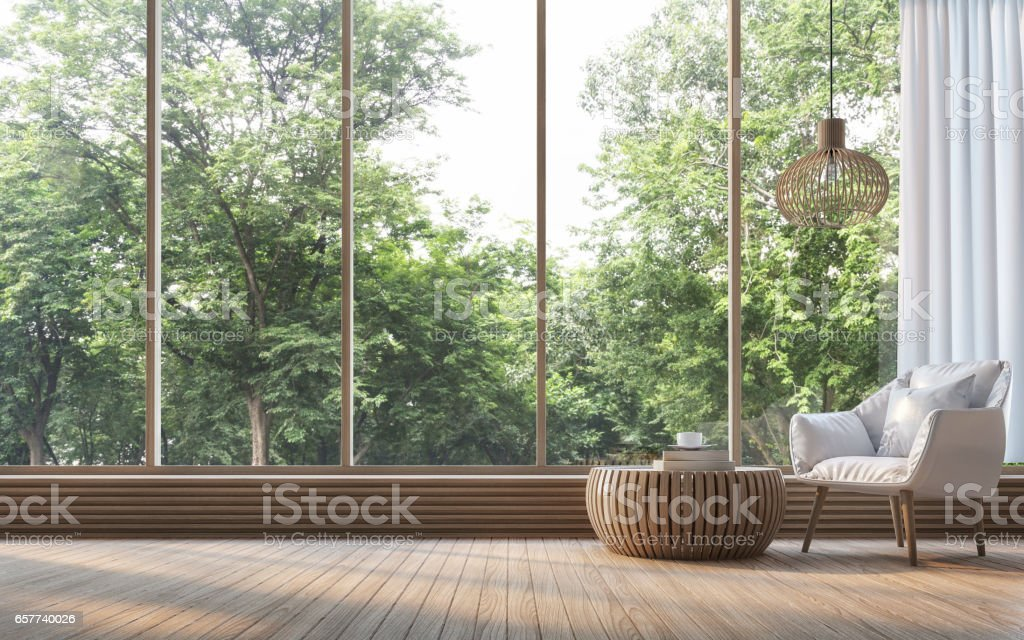 Modern living room with nature view 3d rendering Image - Royalty-free Apartment Stock Photo