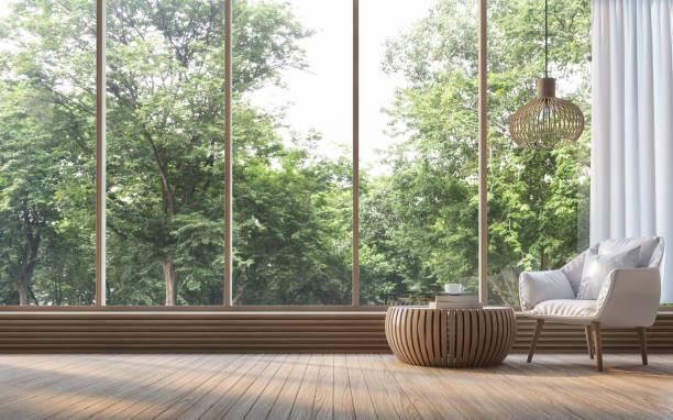 nowoczesny salon z widokiem natury renderowania 3d obraz - okno zdjęcia i obrazy z banku zdjęć