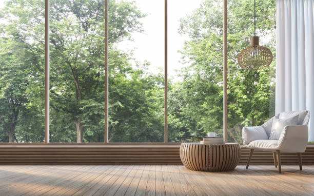 modern living room with nature view 3d rendering image - modern lifestyle stock photos and pictures