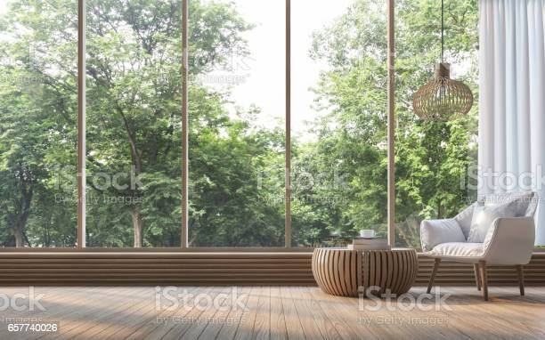 Photo of Modern living room with nature view 3d rendering Image