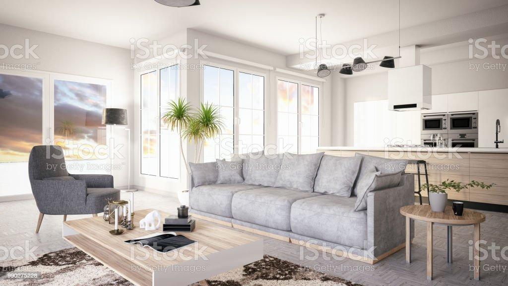 Hedendaags Moderne Woonkamer Met Open Keuken Stockfoto en meer beelden van FH-04