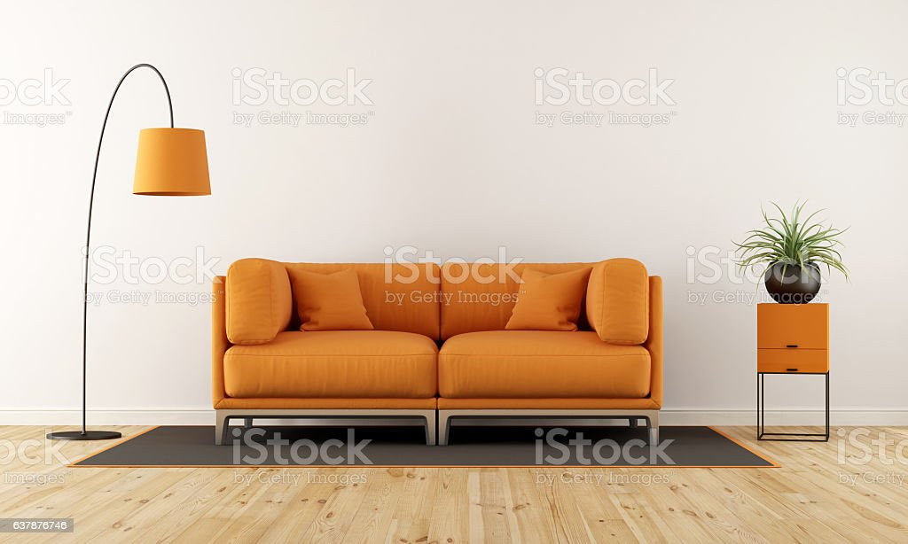 Modern living room with orange couch stock photo