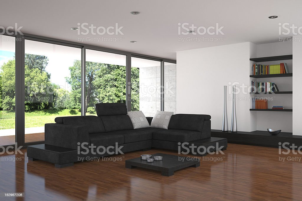 modern living room with parquet floor royalty-free stock photo