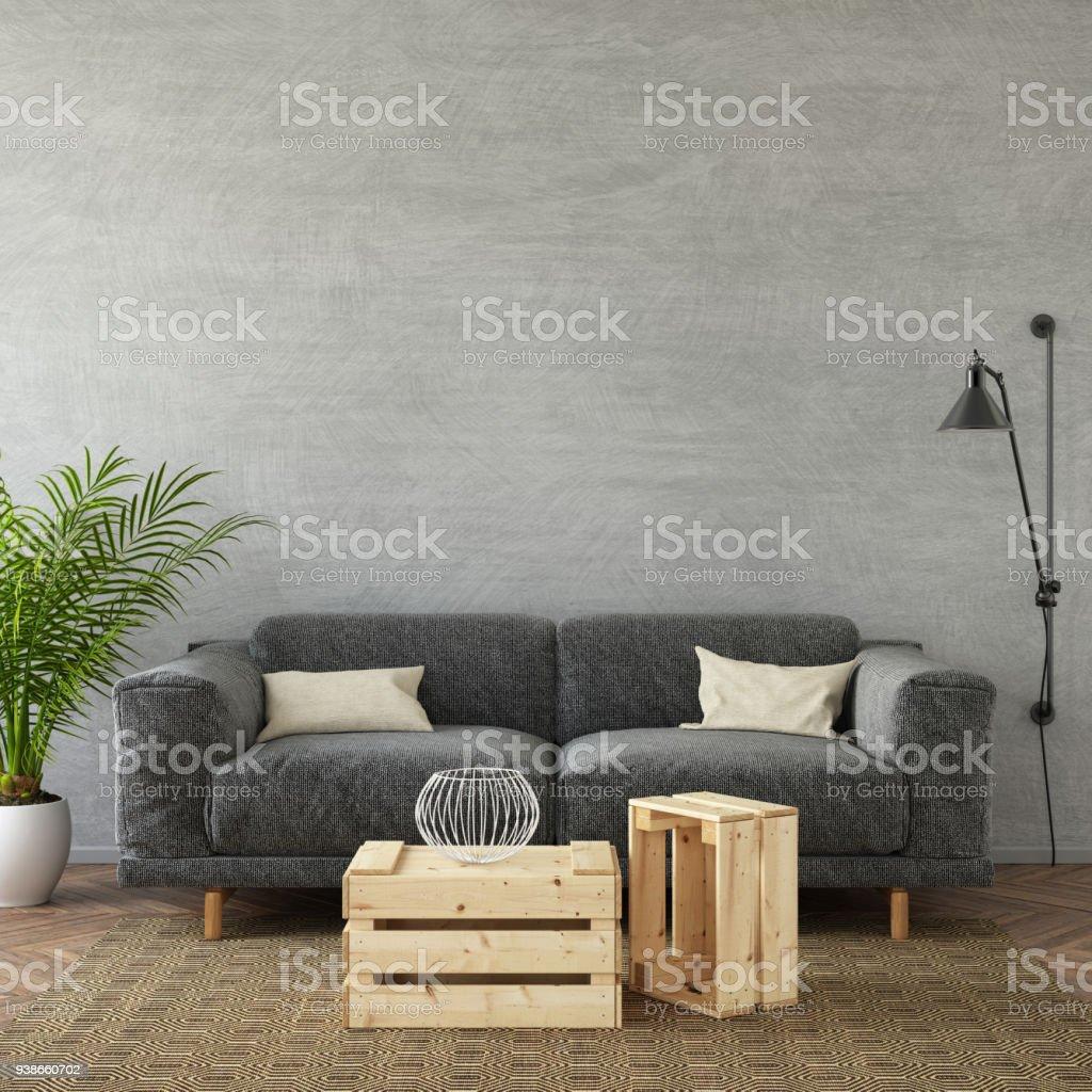 Modernes Wohnzimmer Mit Pastell Farbigen Sofa Stock Fotografie Und