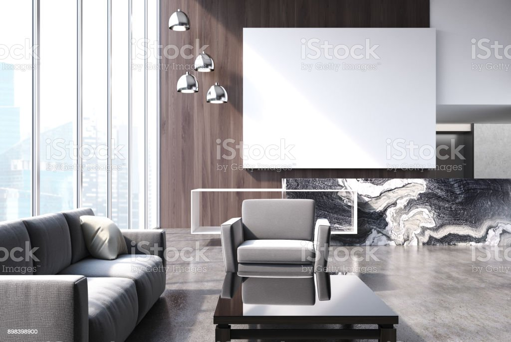 Modern living room with poster stock photo