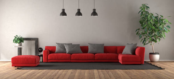 Modern living room with red sofa stock photo
