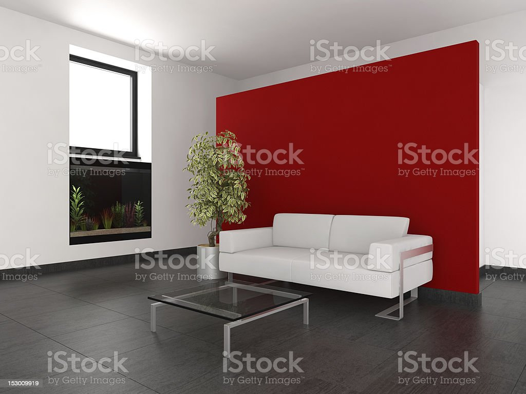modern living room with red wall and aquarium royalty-free stock photo