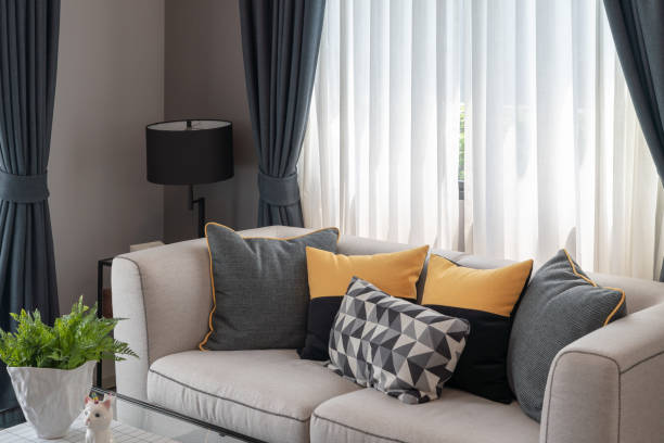modern living room with set of pillows stock photo