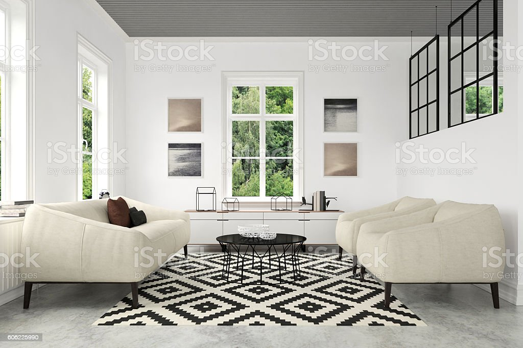 Modern Living Room With Sofa And Armchairs Stockfoto und ...