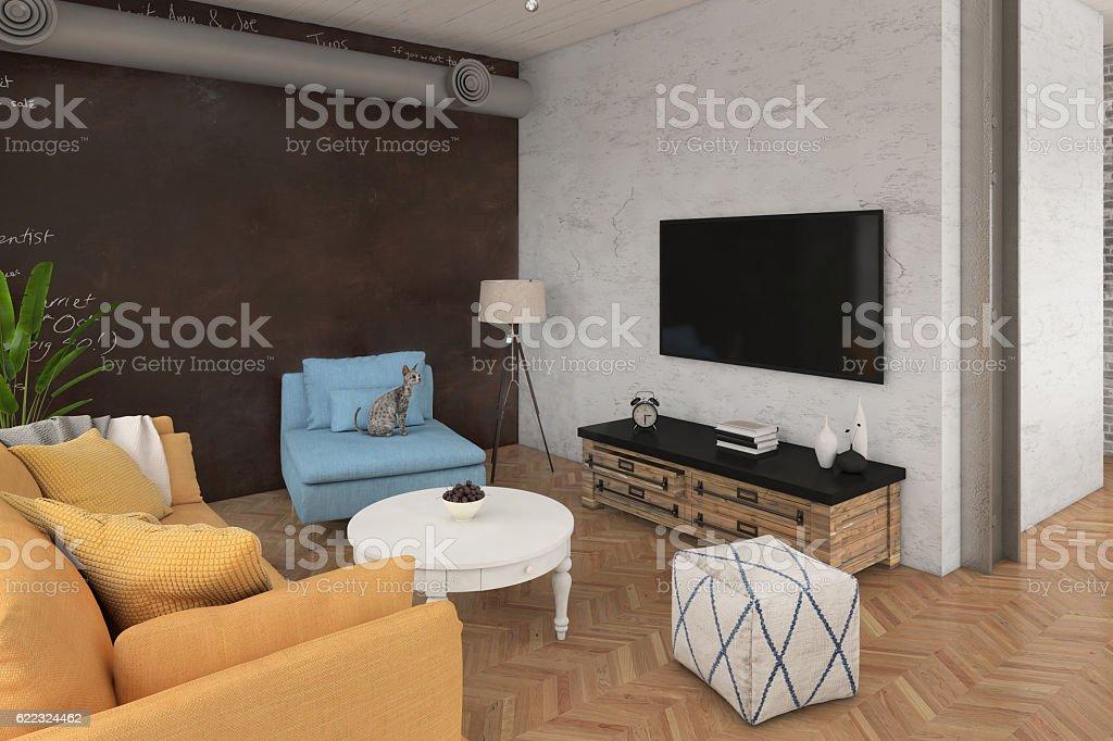 Moderne Wohnzimmer Mit Sofa Und Sesseln Stockfoto und mehr Bilder ...