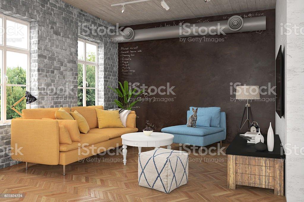 Moderna sala de estar con sofá y sillones - foto de stock