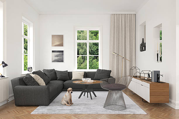 Moderne de salon avec canapé et fauteuils - Photo