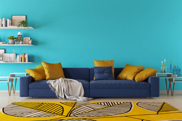 Modern Living Room with Sofa and Book Shelf stock photo
