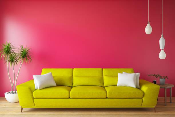 modernes wohnzimmer mit sofa und dekoration - hellrosa zimmer stock-fotos und bilder