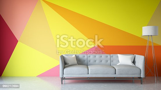 istock Modern Living Room with Sofa and Geometric Wallpaper 990212694