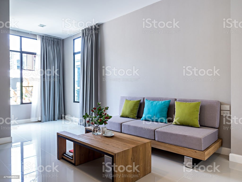 Modern Living Room With Sofa And Huge Windows With Curtains Stock Photo Download Image Now Istock