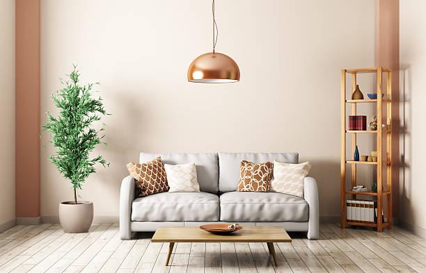 modern living room with sofa interior 3d rendering - couchtisch metall stock-fotos und bilder