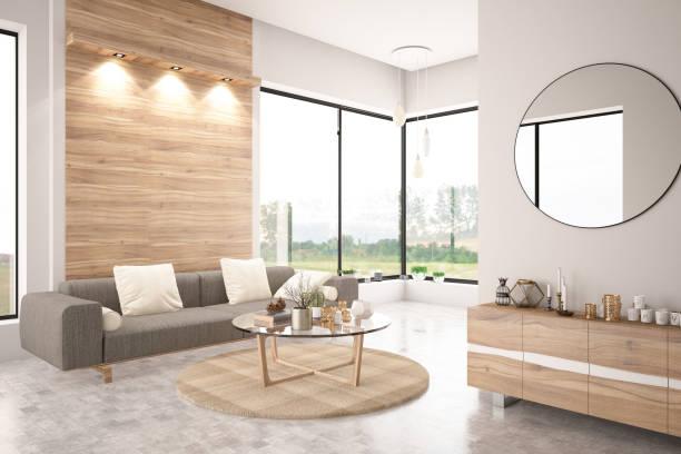 modern living room avec canapé - mur bois photos et images de collection
