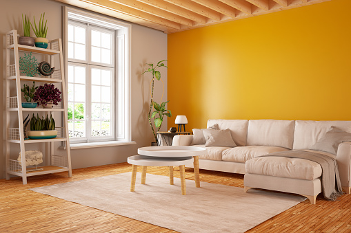 Modern living room interior with sofa. 3d Render