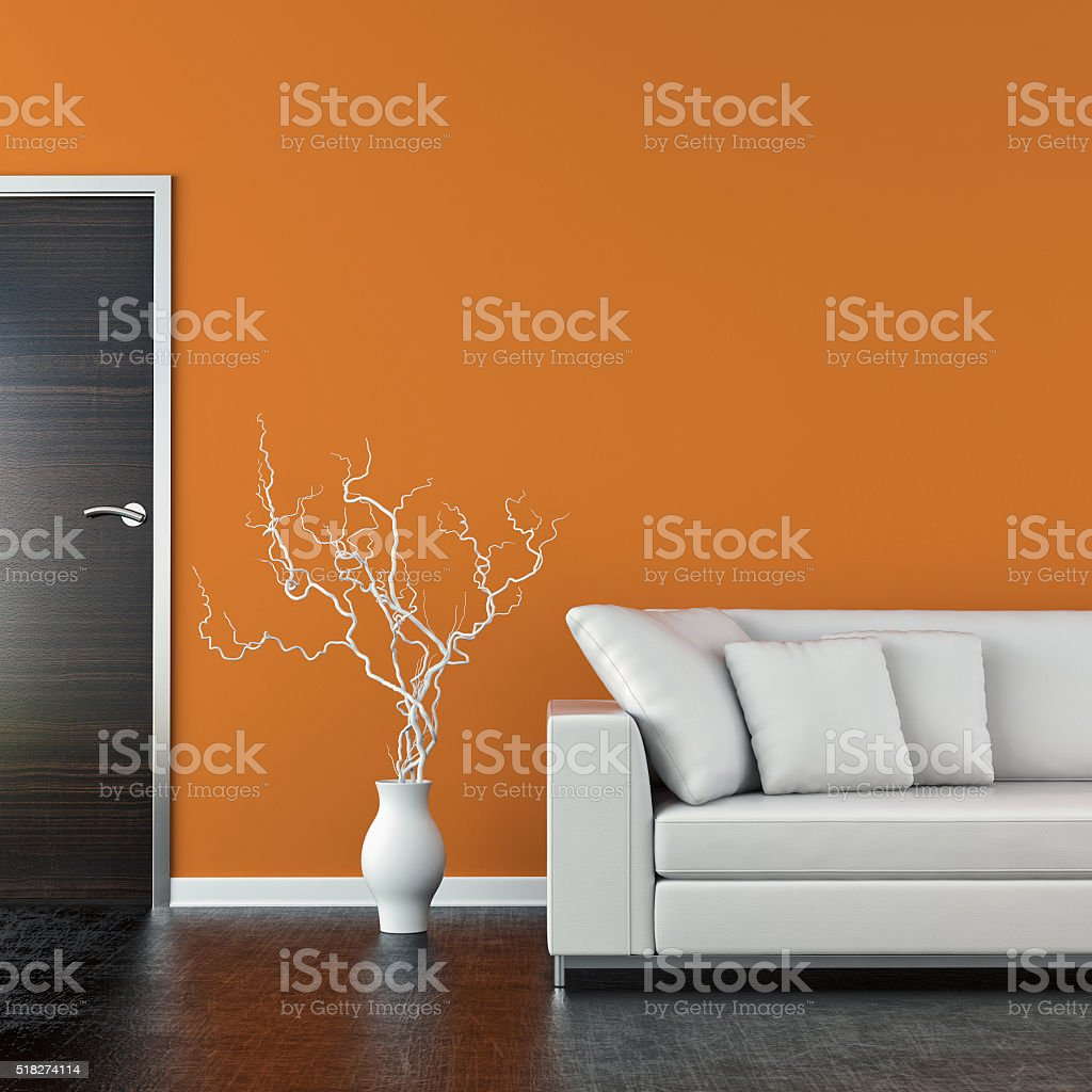 Modern living room with sofa stock photo