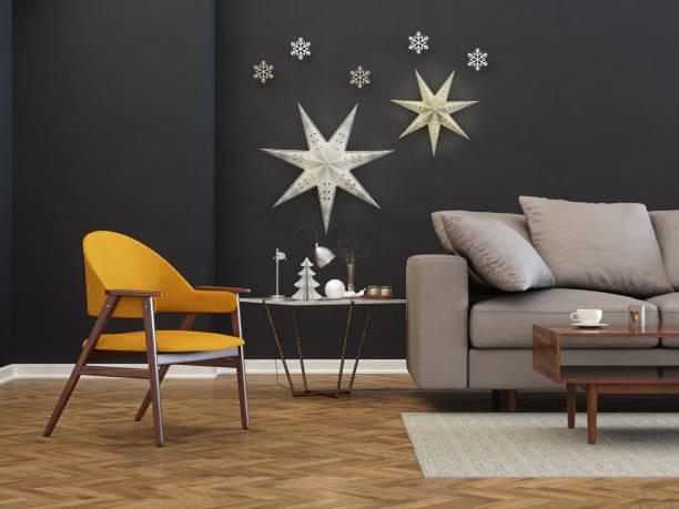 modernes wohnzimmer mit sternen an der wand - moderner dekor für ferienhaus stock-fotos und bilder