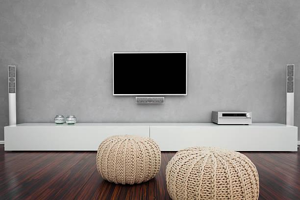 modernen wohnzimmer mit fernseher - anrichte weiß stock-fotos und bilder