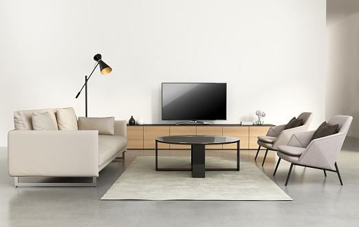 Modern Living Room With Tv Wall Furniture Stock Photo Download Image Now Istock