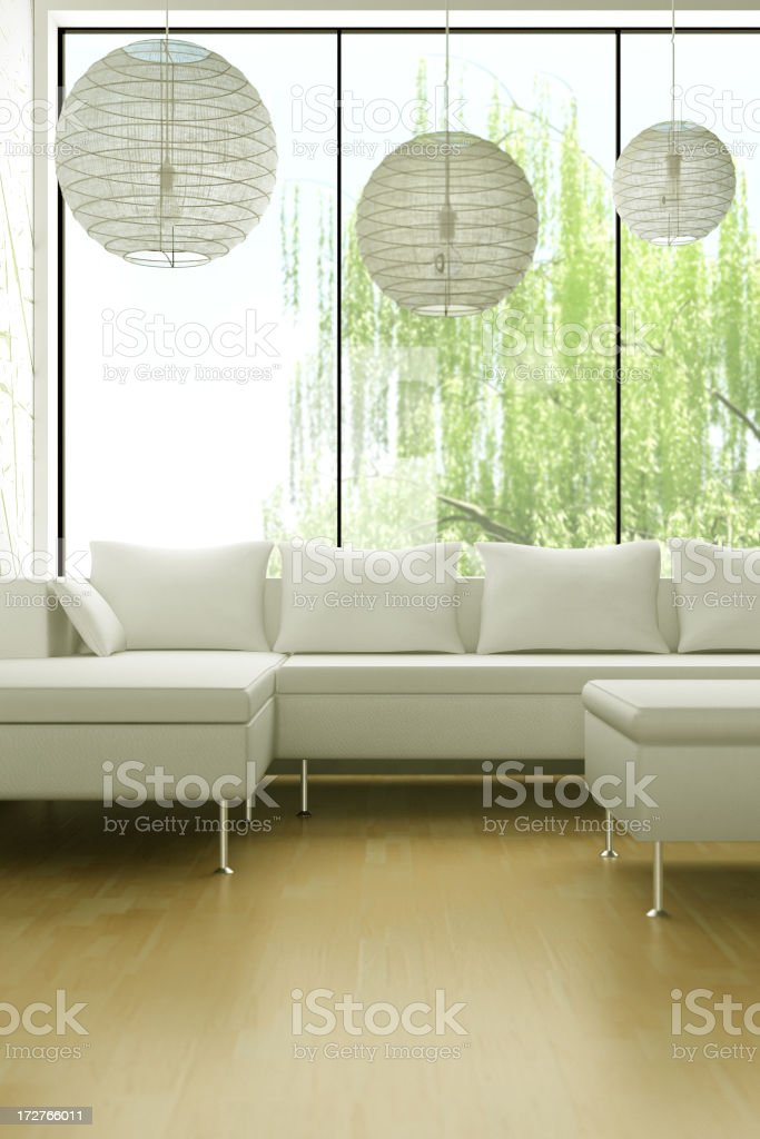 Modern living room with white couch and white ball lighting royalty-free stock photo