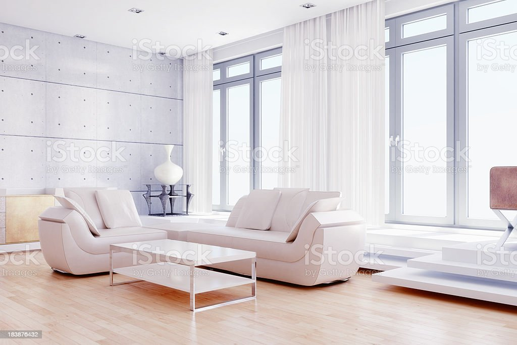 Modern living room with white decor royalty-free stock photo
