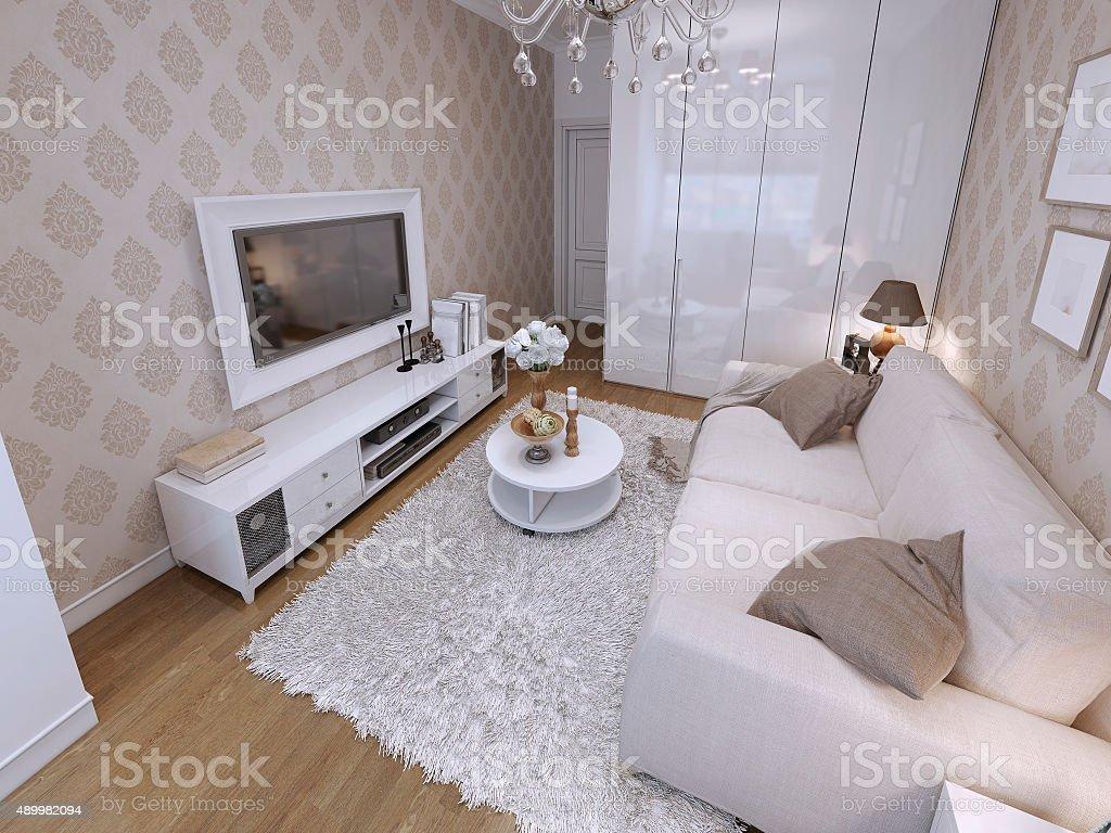 Moderne Wohnzimmer Mit Weißen Schrank Und Audio Mit ...