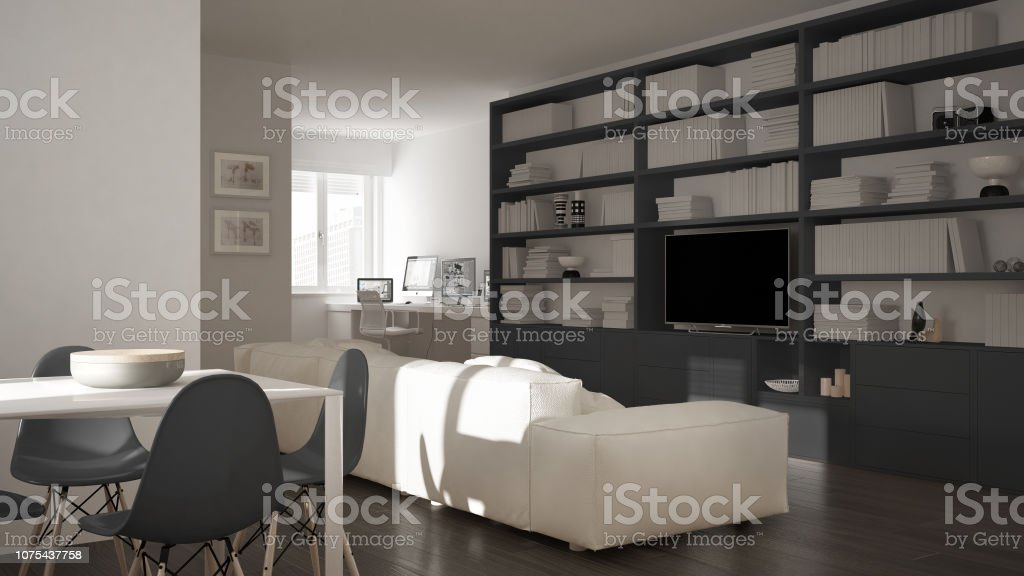 Modern Living Room With Workplace Corner Big Bookshelf And Dining Table Minimal White An Gray Architecture Interior Design Stock Photo Download Image Now Istock