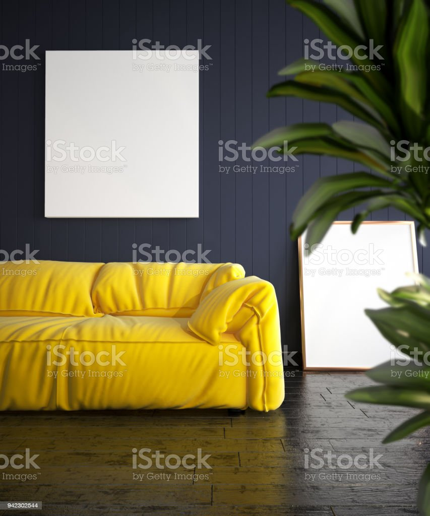 Modern Living Room With Yellow Sofa And Posters Mockup Stock Photo -  Download Image Now
