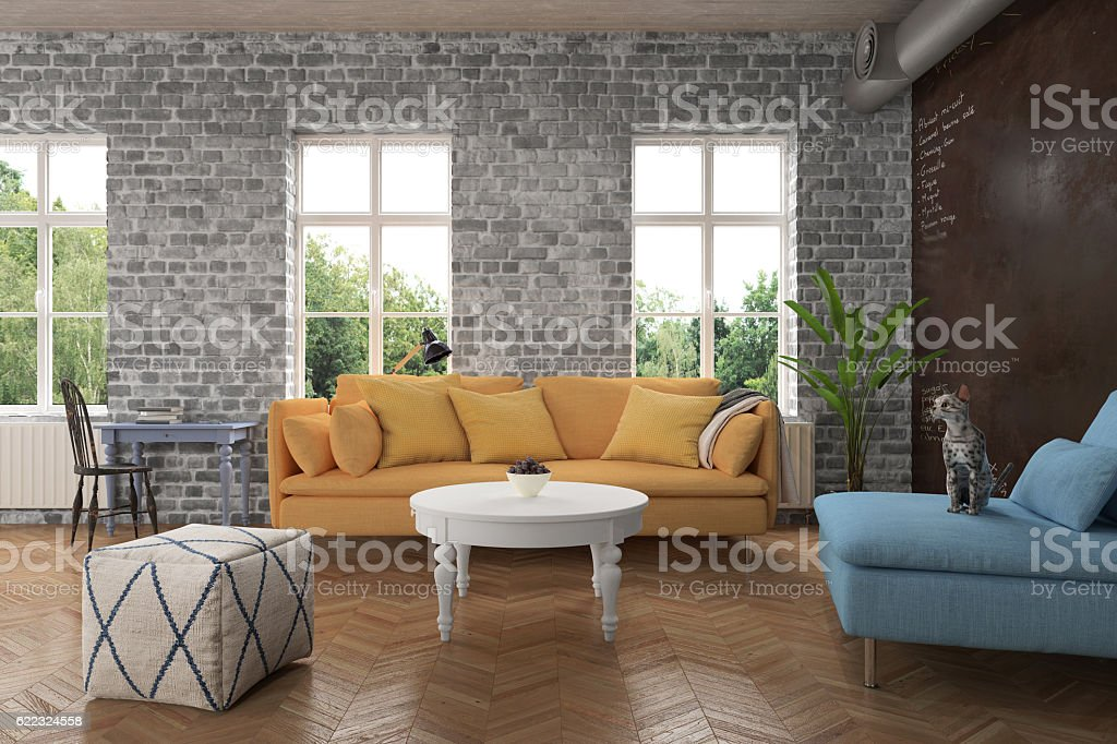 Modern Living room with zellow sofa stock photo