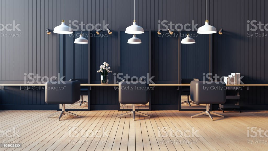 Modern & living salon interior / 3D render image stock photo