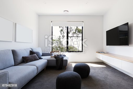 Modern casual second living tv room in a contemporary home
