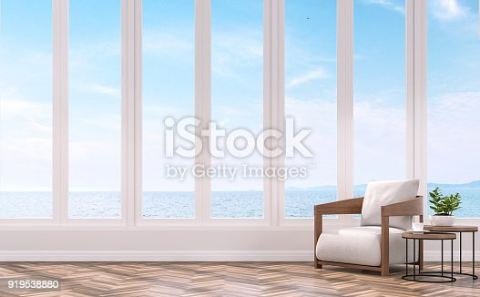 istock Modern living with sea view 3d rendering image. 919538880