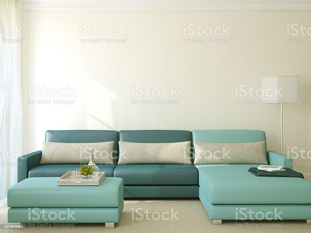 Modern living-room. 3d rendering. stock photo