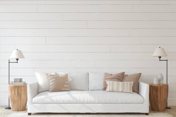 Modern living-room interior. Interior mockup. 3d render. stock photo